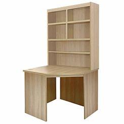R White Corner Desk with Overshelving Sandstone
