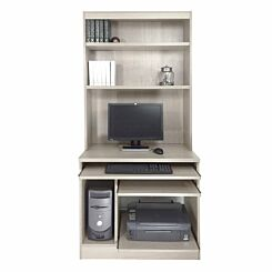 R White Computer Desk Work Station with Overshelving Grey Nebraska