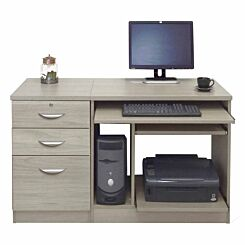 R White Home Office Computer Desk with Three Drawers Grey Nebraska