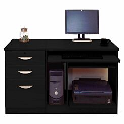 R White Home Office Computer Desk with Three Drawers Black Havana