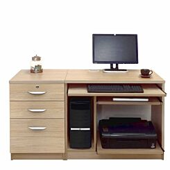 R White Home Office Computer Desk with Three Drawers Sandstone