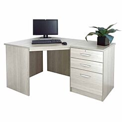 R White Home Office Corner Desk with Three Drawers Grey Nebraska