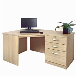 R White Home Office Corner Desk with Three Drawers Sandstone