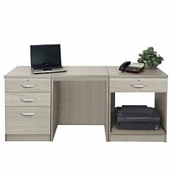 R White Home Office Furniture Desk Set with Drawers and Storage Grey Nebraska