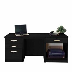 R White Home Office Furniture Desk Set with Drawers and Storage Black Havana