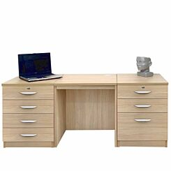 R White Home Office Furniture Desk Set with Double Drawers Sandstone