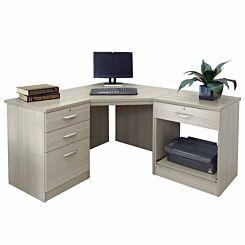 R White Home Office Corner Desk Grey Nebraska