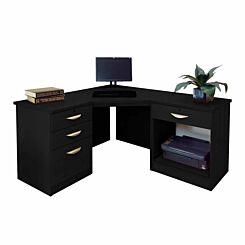 R White Home Office Corner Desk Black Havana