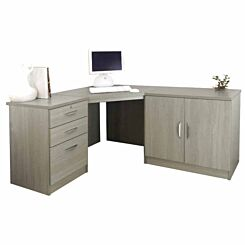 R White Home Office Corner Desk with Cupboard Grey Nebraska
