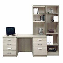 R White Home Office Desk with Side Shelving Grey Nebraska