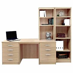 R White Home Office Desk with Side Shelving Sandstone