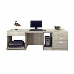 R White Home Office Wide Desk Grey Nebraska