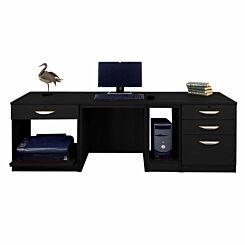 R White Home Office Wide Desk Black Havana