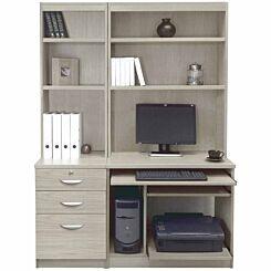 R White Home Office Tall Narrow Desk with Shelving Grey Nebraska