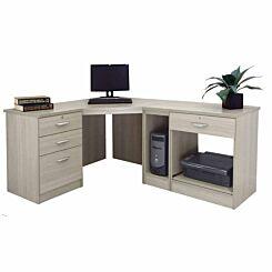R White Home Office Wide Corner Desk Set Grey Nebraska