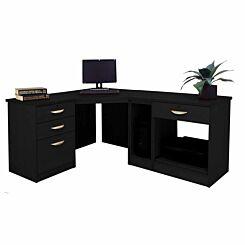 R White Home Office Wide Corner Desk Set Black Havana