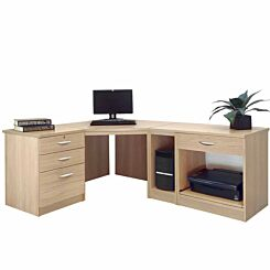 R White Home Office Wide Corner Desk Set Sandstone