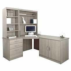 R White Home Office Corner Desk Set with Overshelving Grey Nebraska