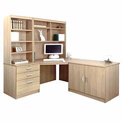 R White Home Office Corner Desk Set with Overshelving Sandstone