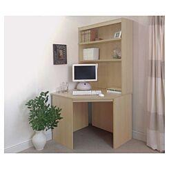 R White Corner Desk with Overshelving
