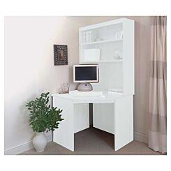 R White Corner Desk with Overshelving White Satin