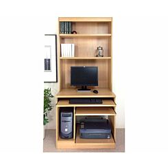 R White Computer Desk Work Station with Overshelving Classic Oak