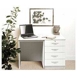 R White Home Office Desk Set with Four Drawers White