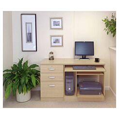 R White Home Office Computer Desk with Three Drawers