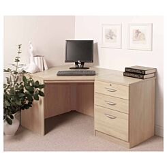 R White Home Office Corner Desk with Three Drawers