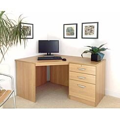 R White Home Office Corner Desk with Three Drawers Classic Oak