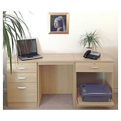 R White Home Office Furniture Desk Set with Drawers and Storage Beech