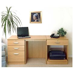 R White Home Office Furniture Desk Set with Drawers and Storage Classic Oak