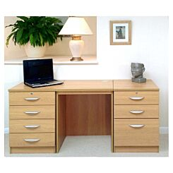 R White Home Office Furniture Desk Set with Double Drawers Classic Oak