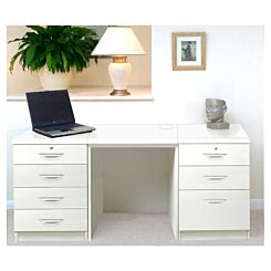 R White Home Office Furniture Desk Set with Double Drawers White