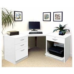 R White Home Office Corner Desk White Satin