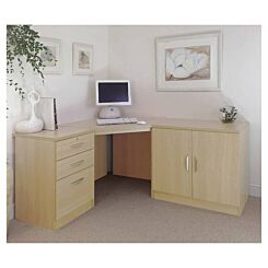 R White Home Office Corner Desk with Cupboard