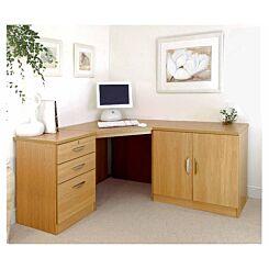 R White Home Office Corner Desk with Cupboard Classic Oak Wood Grain