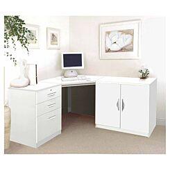 R White Home Office Corner Desk with Cupboard White Satin