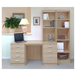 R White Home Office Desk with Side Shelving
