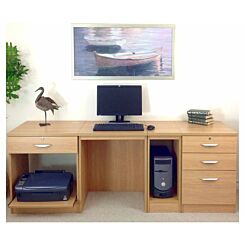 R White Home Office Wide Desk Classic Oak