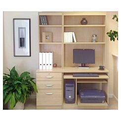R White Home Office Tall Narrow Desk with Shelving