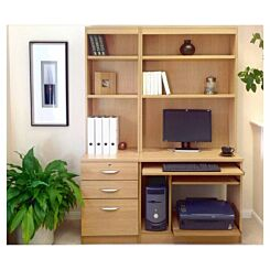 R White Home Office Tall Narrow Desk with Shelving Classic Oak