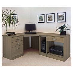 R White Home Office Wide Corner Desk Set English Oak