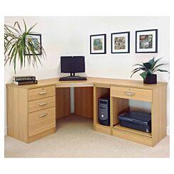R White Home Office Wide Corner Desk Set Classic Oak