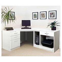 R White Home Office Wide Corner Desk Set White