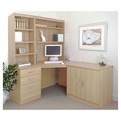 R White Home Office Corner Desk Set with Overshelving