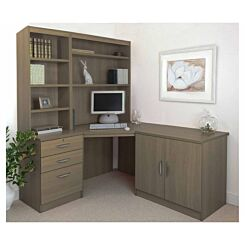 R White Home Office Corner Desk Set with Overshelving English Oak