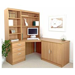 R White Home Office Corner Desk Set with Overshelving Classic Oak