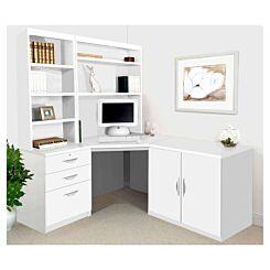 R White Home Office Corner Desk Set with Overshelving White