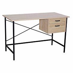 Loft 2 Drawer Desk with Oak Effect and Grey Metal Legs